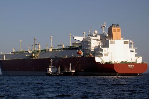 Nakilat operated Q-Max LNG carrier Umm Slal undergoing bunkering at anchorage.