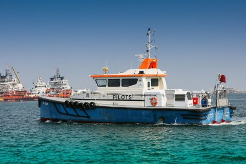 View of pilot boat at the Ras Laffan Port