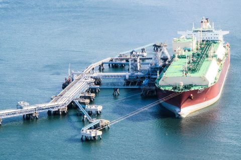 Wholly-owned Q-Max LNG carrier Al Mayeda unloading cargo at a terminal.