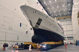 Luxury yacht pictured inside the NDSQ construction hall