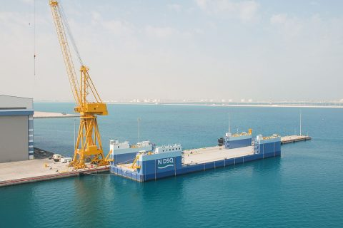 The Load-Out and Recovery (LOR) barge for vessel launching/lifting at NDSQ
