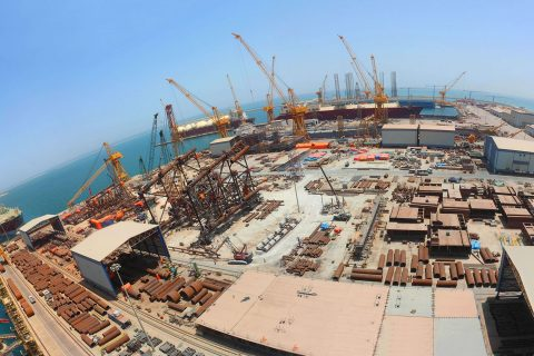 Aerial view of offshore fabrication activity at N-KOM