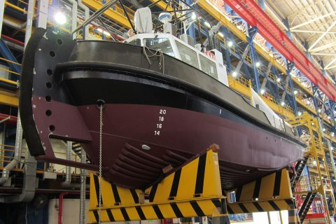 Newbuild tugboat inside the NDSQ construction workshop
