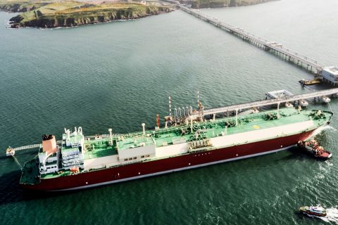 A Q-max LNG carrier pictured unloading cargo at South Hook Terminal in UK.